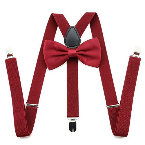 LiDianFuu 2,5 cm 3 Clip On y elástico trasero Tirantes Pajaritas Conjunto de la liga de los apoyos corbatas Brace correa del cinturón para hombre