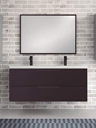 Juego de Mueble de Baño Modelo Toscana Resina, Conjunto formado por Mueble de Baño Lacado en Antracita Ancho 120cm, Lavabo de Resina de Doble Seno y Espejo a Juego