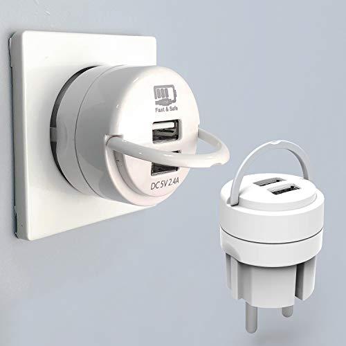 UCOMEN USB Netzteil USB Stecker, USB Ladegerät 2.4A Ladeadapter 2 Ports Netzteile mit Ausziehbügel und Smart Lade, Weiß -2er Pack