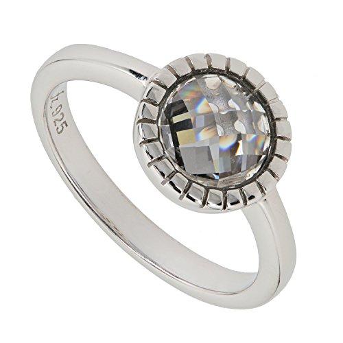 Judith Williams Solitär Damen-Ring Sterling-Silber 925 rhodiniert Zirkonia grau RW18