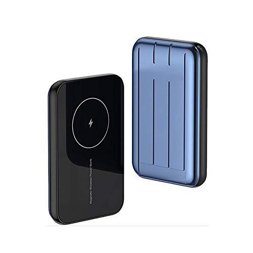 Banco de Potencia rápida inalámbrica magnética 5000 MAH, Caja de batería magnética del Cargador rápido de 15 W, Adecuado para iPhone 12/12 Mini / 12 Pro / 12 Pro MAX (Color : Blue)