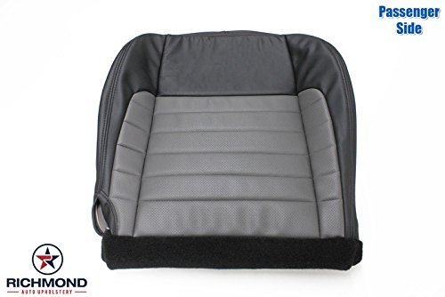 Richmond Auto Upholstery - Passenger Side Bottom Replacement Leather Seat Cover, Black & Gray (Compatible with 2002 Ford F-150 F150 Harley Davidson Edition Supercharged)