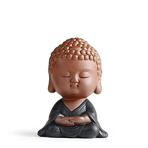 ZSQZJJ Creatividad de cerámica pequeñas estatuas de Buda de Monje decoración del hogar figuritas en Miniatura Modernas Adornos para Mascotas de té