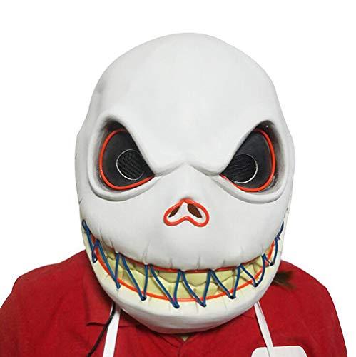 HANJIAJKL Halloween Leuchtmaske - Christmas Night Cry/Skull Mask Headgear - Weiß,Masken/Partyhüte, Partymasken & Zubehör