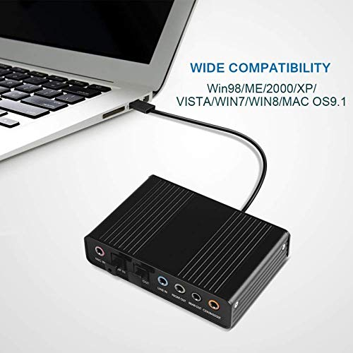 Alician - Tarjeta de Sonido Externa USB de 5.1 Canales de Audio óptico, Mezcla de Sonidos S/PDIF para Ordenador portátil, PC, Pista de Sonido para HTPC Home Theatre Accesorios electrónicos