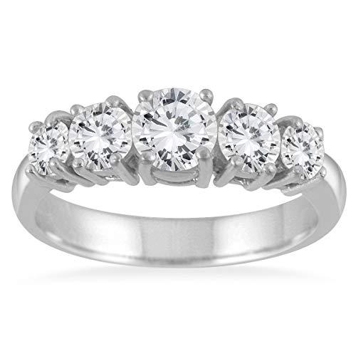AGS Certificado 11/4Carat TW 5piedra Color Blanco Anillo con diamante en oro blanco de 14K (K-L color, I2-I3claridad)