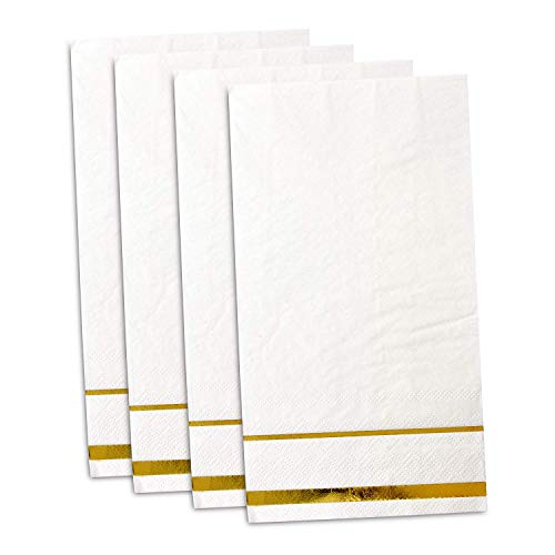100 Gold Trim Lined Guest Napkins Disposable Paper Pack Elegant Dinner Hand Napkin for Bathroom Wedding Holiday Anniversary Birthday Party Bridal & Baby Shower Metallic Golden Foil Decorative Towels
