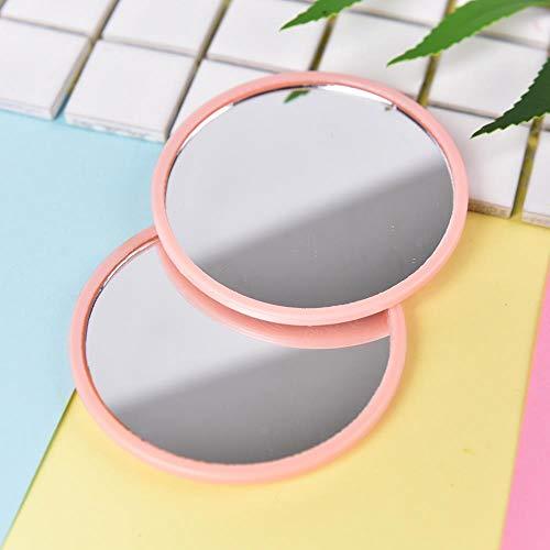 LASISZ Mignon Portable Un Côté Mini Poche Miroir De Maquillage Cosmétique Compact Miroirs en Métal Couleur Dia 7 cm Couleur, Couleur aléatoire