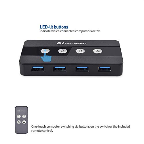 Cable Matters 4 Port USB 3.0 Switch Hub    USB Sharing Switch for 4 Computers and USB Peripherals - Button or Wireless Remote Control Swapping - Includes USB-C Adapter for USB-C and Thunderbolt 3