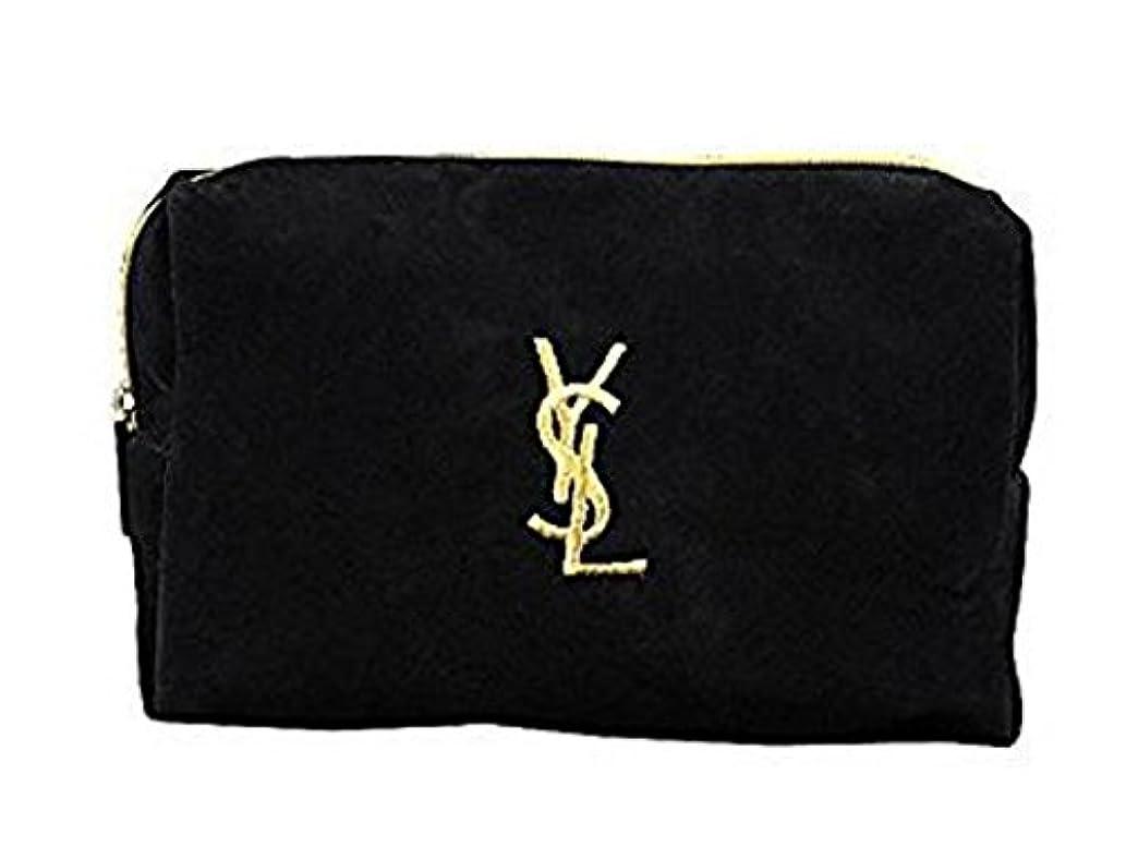 スイス人ピクニックなめらかなイヴ サンローラン Yves saint Laurent ポーチ 小物入れ ロゴ イエロ ブラック 化粧ポーチ 化粧 メイク コスメ アイシャドー ブラシ1本 付き