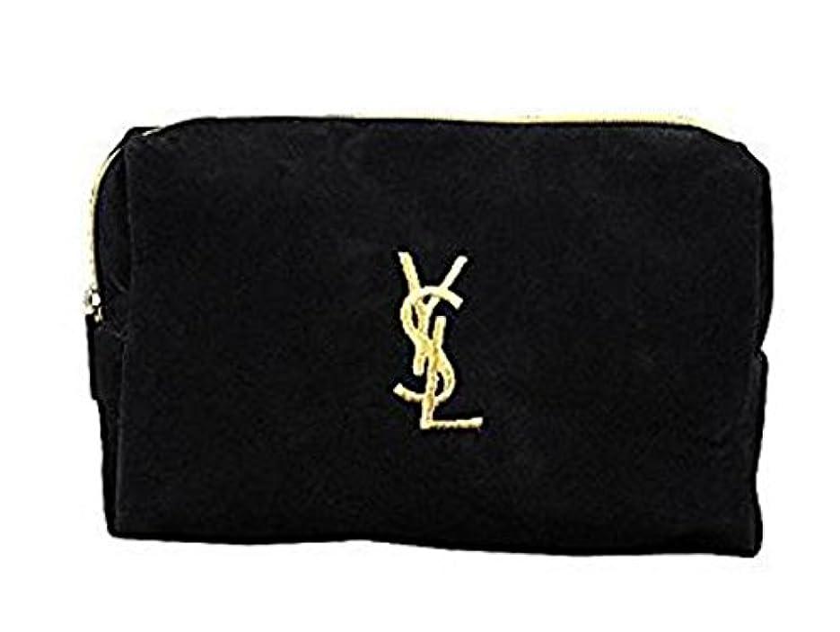芝生故障幻想的イヴ サンローラン Yves saint Laurent ポーチ 小物入れ ロゴ イエロ ブラック 化粧ポーチ 化粧 メイク コスメ アイシャドー ブラシ1本 付き