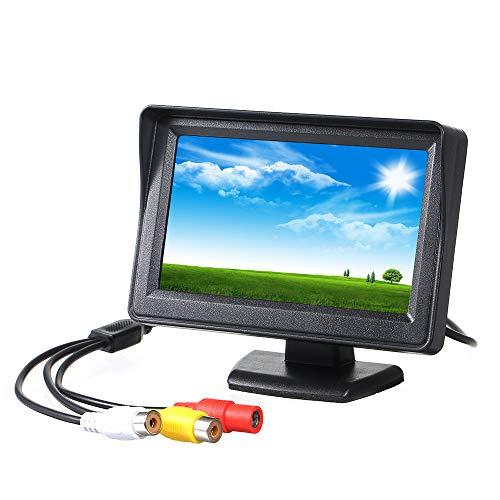 Carrfan 4,3 Zoll 480 * 272 Auto-Monitor TFT LCD Farbdisplay Auto Rückfahrmonitor Bildschirm mit 2 AV Eingängen für Auto Rückfahrkameras Auto Parking Backup Reverse Monitor System