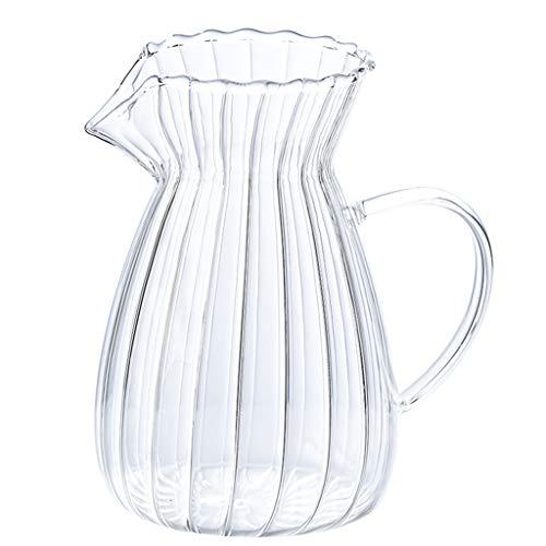 YQQ-Cafetière Le Partage du Verre et café résistant à la Chaleur à Rayures Main Pot et pichet 12 Tasses Remplacement Carafe avec poignée Ergonomique en
