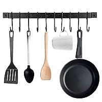 maidmax porta utensili cucina da parete, 43 cm porta mestoli da cucina, barra portautensili cucina con 10 s ganci, porta padelle porta attrezzi cucina, colore nero