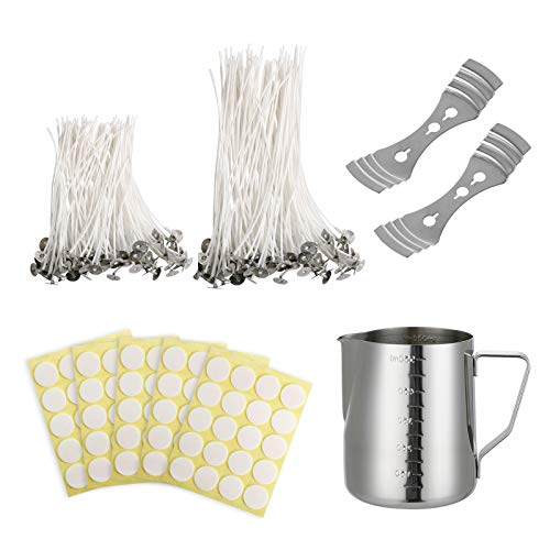 DIY Candle Making Kit, DIY Candles Craft Tools, 1pcs Candle Making Pouring Pot, 100pcs Cotton Candle Wicks, 100pcs Candle Wicks Stickers, 2pcs Metal Candle Wicks Holder for Candle Making