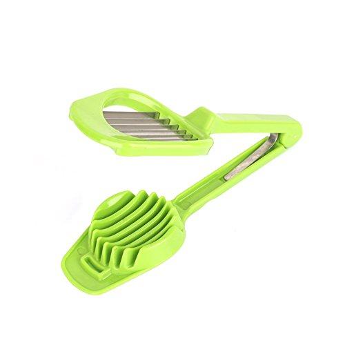 Cortador de huevos, setas y tomate, cortador de frutas con mango largo con cuchillas de acero inoxidable de aleación ABS, accesorios de cocina multifunción (color: verde)