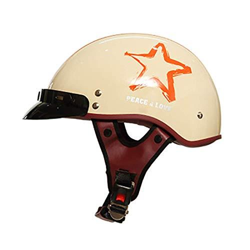 ACEMIC Retro Motorrad Halbhelm, DOT/ECE Zugelassener Adise-Unisex Open Face Motorradhelm Halbschalenhelm, für Cruiser Elektroroller Chopper Moped Schädelkappe D, XL = 59~60cm
