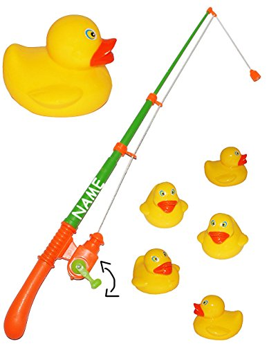 alles-meine.de GmbH 2 Set´s - großes Angelspiel - WASSERFEST - mit je 5 großen Enten - inkl. Name - drehbare Angel - Entenangeln für Kinder - Angeln mit Magnet - Badewanne Spiel ..