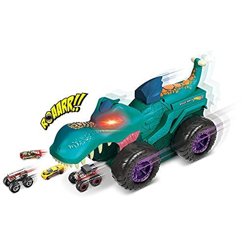 Hot Wheels Monster Trucks Mega Wrex mastica coches con luces y sonidos, incluye 1 vehículo die-cast (Mattel GYL13)