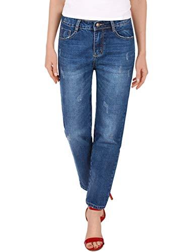 Fraternel Damen Jeans Hose Boyfriend Relaxed Loose Fit Blau S / 36 - W28