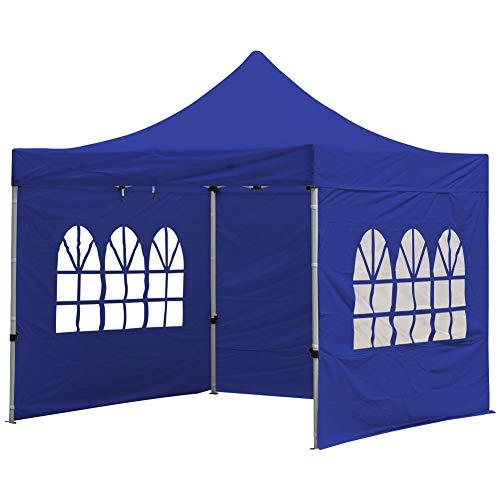 Fnova Garden Gazebo Marquee Tent with Side, 3 x 3M Pop Up Garden Canopy Waterproof Gazebo Camping Tent Shelter Outdoors (Blue)