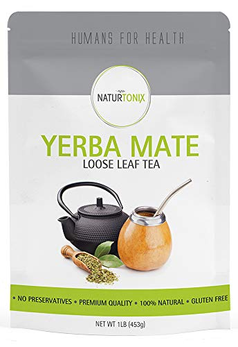 Naturtonix Yerba Mate Loose Leaf Tea, 1LB Resealable Fresh Pouch, 100% Natural South American Green Tea, Energy Boosting with High Caffeine, Gluten Free, Non GMO, Vegan, Delicious