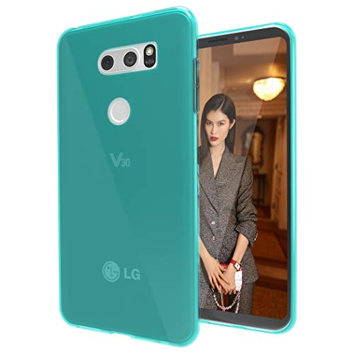 LG V35 ThinQ Clear Case,LG V35 Slim Case,LG V30 / LG V30 Plus/LG V30S Case Slim Thin Soft Skin Silicone Flexible TPU Gel Rubber Shock Absorption Protective Case Cover for LG V30 (Crystal-Mint)
