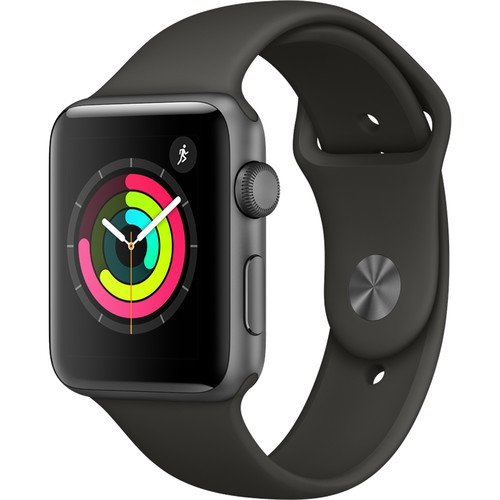 Apple Watch Series 3 (GPS), 42mm Space Gray Aluminum Case with Gray Sport