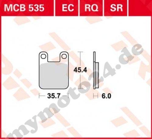 Bremsbelag TRW / Lucas MCB535, Organische Mischung mit ABE für Rieju RR50 Baujahr 2006