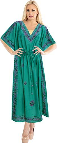LA LEELA Donne Rayon Kaftan Tunica Ricamato Kimono Libero Formato Lungo Maxi Partito Caftano Vestito per Loungewear Vacanze Pigiama Spiaggia di Tutti i Giorni Coprire i Vestiti BX