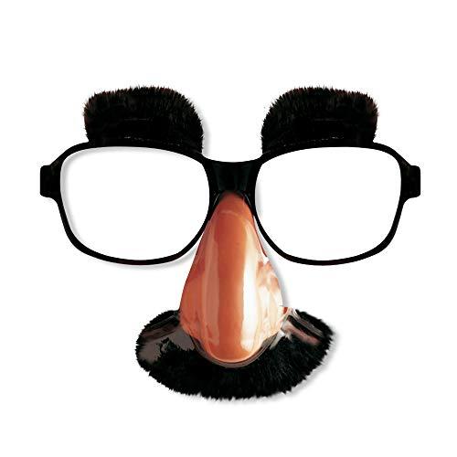 Widmann 2707B – Brille Comedian, mit Nase, Schnurrbart und Augenbrauen, Accessoire, Zubehör, Nerd, Motto Party, Karneval