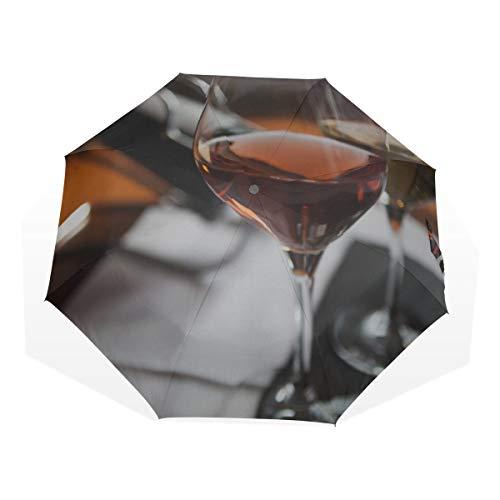 Botella de Paraguas para Lluvia al Aire Libre Vino y UVA en la Mesa Paraguas de Arte de 3 Pliegues (impresión Exterior Sombrilla para Hombres Chico Paraguas Compacto Paraguas Viaje Grande