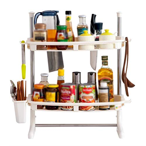 Drain-Rack-2-Schicht-Kunststoff-Küche Würzen Besteck Küche Storage Rack 51.5cm * 21.5cm * 65cm Plattenhalter Drainboard
