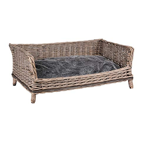 RM E-Commerce Rectangular Wicker Dog Bed with Cushion for Large and Small Dogs 80 cm Wide, Grey