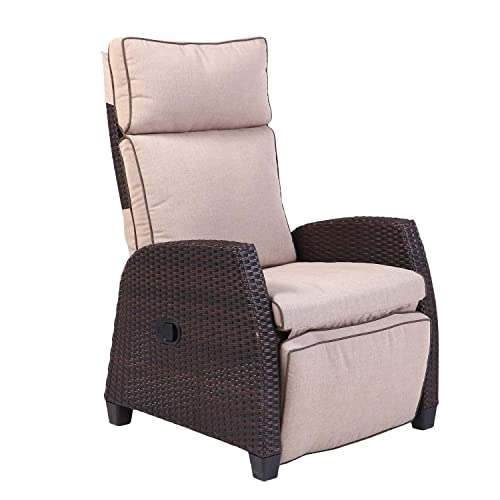 Grand Patio Indoor & Outdoor Recliner with All-Weather Wicker, Beige Cushion and Integrated Side...