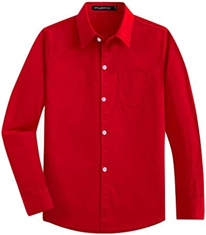 Spring Gege Boys Long Sleeve Dress Shirts Formal Uniform Cotton Solid Red 11 12 Years product image
