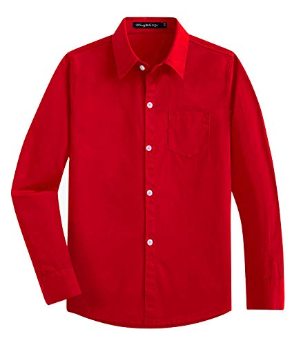 Spring&Gege Boys' Long Sleeve Dress Shirts Formal Uniform Cotton Solid, Red, 3-4 Years