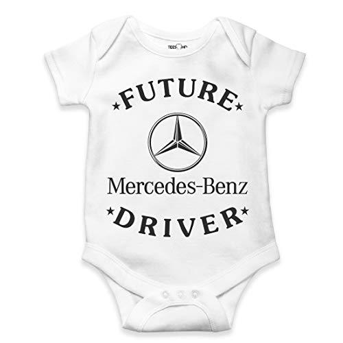Custom Print Baby Body aus Baumwolle, Unisex, Motiv: Future Mercedes Driver langärmelig, Geschenk für Neugeborene Gr. 34, weiß
