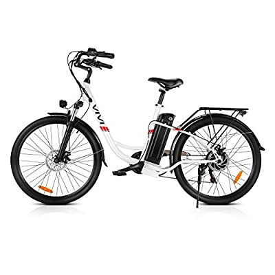 Vivi Electric Bike, 26 Inch City Commuter Bike for Adults, 350W Ebike with 36V 8AH Removable Battery, Shimano 7-Speed Cruiser Bikes for Women (White Ebike)