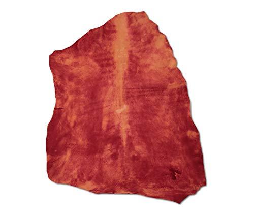 Zerimar Piel Cuero | Pieles Cuero Cordero Natural | Retales de Piel para Manualidades | Piel para Artesanos | Retal Cuero | Retales de Cuero | Color: Rojo | Medidas: 85x70 cm.