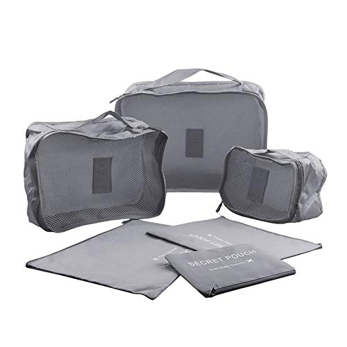 6 organizadores de equipaje de viaje, cubos de embalaje portátiles, bolsas de almacenamiento resistentes al agua con cremallera para maleta y duraderas (gris)