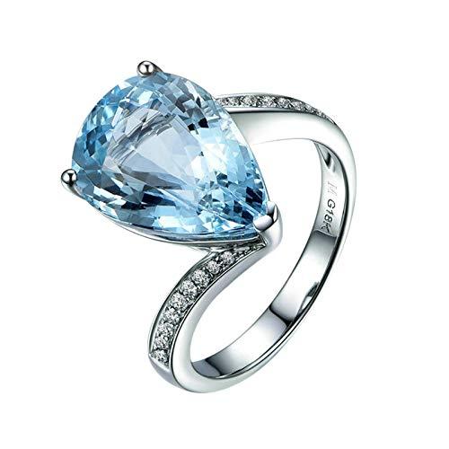 AnazoZ Anillo Compromiso Mujer Plata Azul Anillo 18K Oro Blanco Mujer Anillo Gota de Agua Aguamarina Azul 4.58ct y Diamante 0.12ct Talla 21