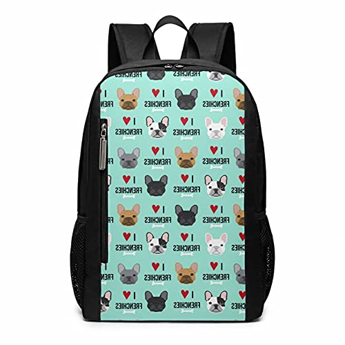 Blue Heart Dog Cute Funny French Bulldog Fawn Painting Art Stylish Large Backpack College Adjustable Office Climbing Yoga Beach For Men Women