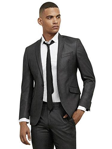 Kenneth Cole REACTION Men's Slim Fit Suit Separate Blazer (Blazer, Pant, and Vest), Gunmetal Basketweave, 46 Regular