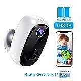 Überwachungskamera Akku, MECO ELEVERDE Outdoor WLAN Kamera 1080P Baby Monitor mit PIR-Bewegungserkennung, 2Wege-Audio, Nachtsicht, integrierter SD-Steckplatz, IP65 wasserdichte für...
