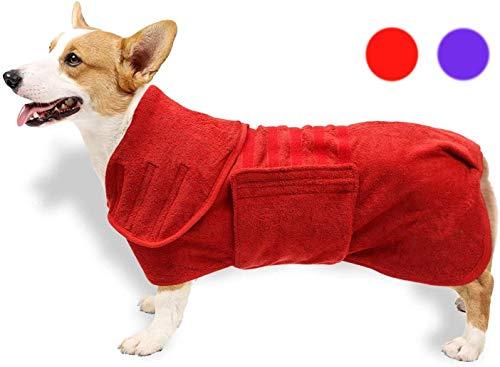 Albornoz para perro, toalla de baño para perro, secado rápido con correa ajustable para cachorro, microfibra superabsorbente, accesorios de ducha y baño para perros, longitud de espalda de 51 cm