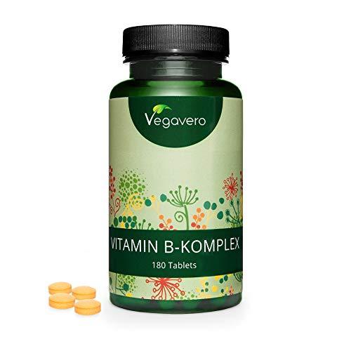 Complejo Vitamina B Vegavero® | AHORA SIN ADITIVOS ARTIFICIALES | Con Colina e Inositol | B2 + B5 + Niacina + Piridoxina + Ácido Fólico + B12 | Vitaminas Para el Cansancio | 180 Comprimidos