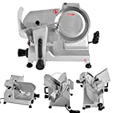 Tangkula Electric Meat Slicer, Home Kitchen Commercial Restaurant Heavy Duty Chrome Plated Stainless Professional Semi-Auto Kitchen Deli Cheese Food Vegetable Slicer Cutter (9