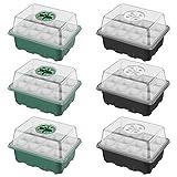 ANSUG 6 Pezzi Vassoi per la germinazione delle piante, vassoi piantina Starter con cupola regolabile, Set di propagatori di semi con etichette per piante, utensili manuali (12 celle per vassoio)