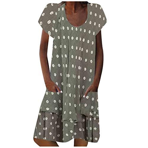 Shenye Damen Sommerkleid, Mode Elegant Round Neck Dot Print Kurzarm Lose Kleid, Frauen Casual Retro-Stil A-Linie Midi Beach Kleid Mit Tasche